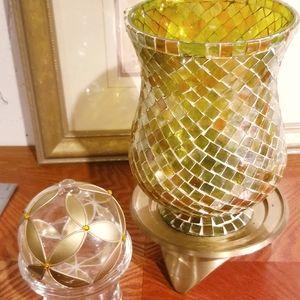 Mosaic Glass Huricane Candleholder Set